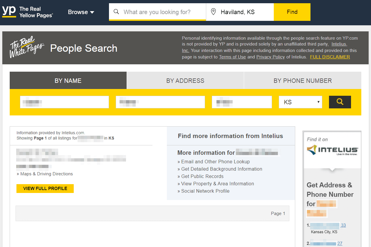 Yellow Pages people finder results