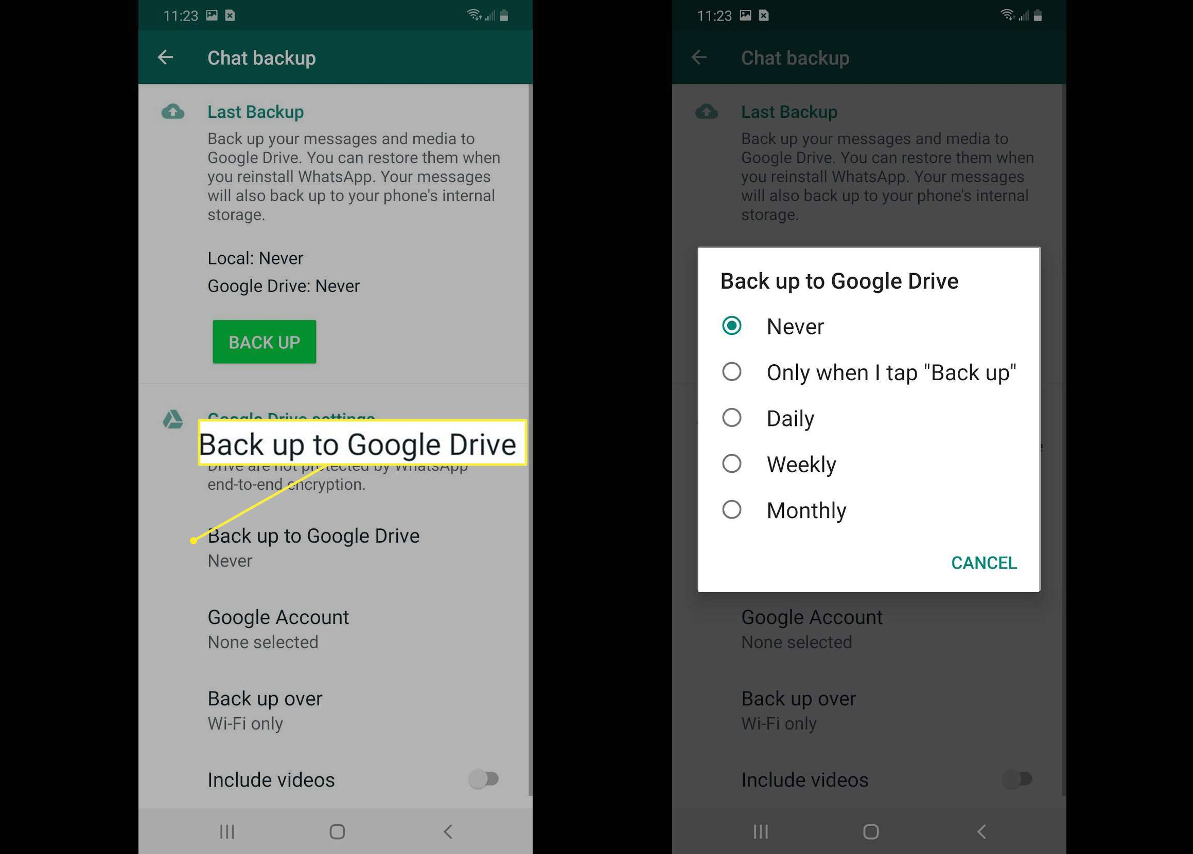 Back up to Google Drive options
