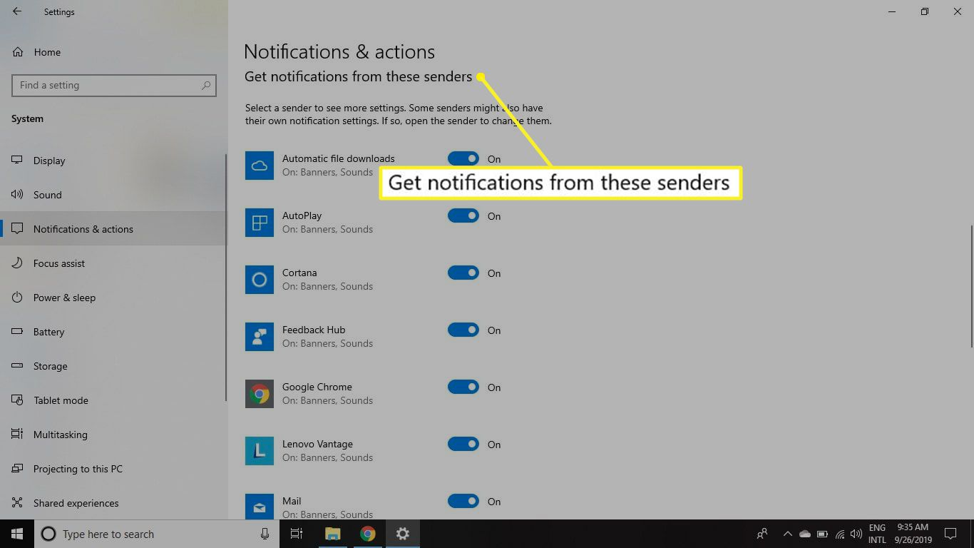 Get Notifications From These Senders section of Notificatons & Actions