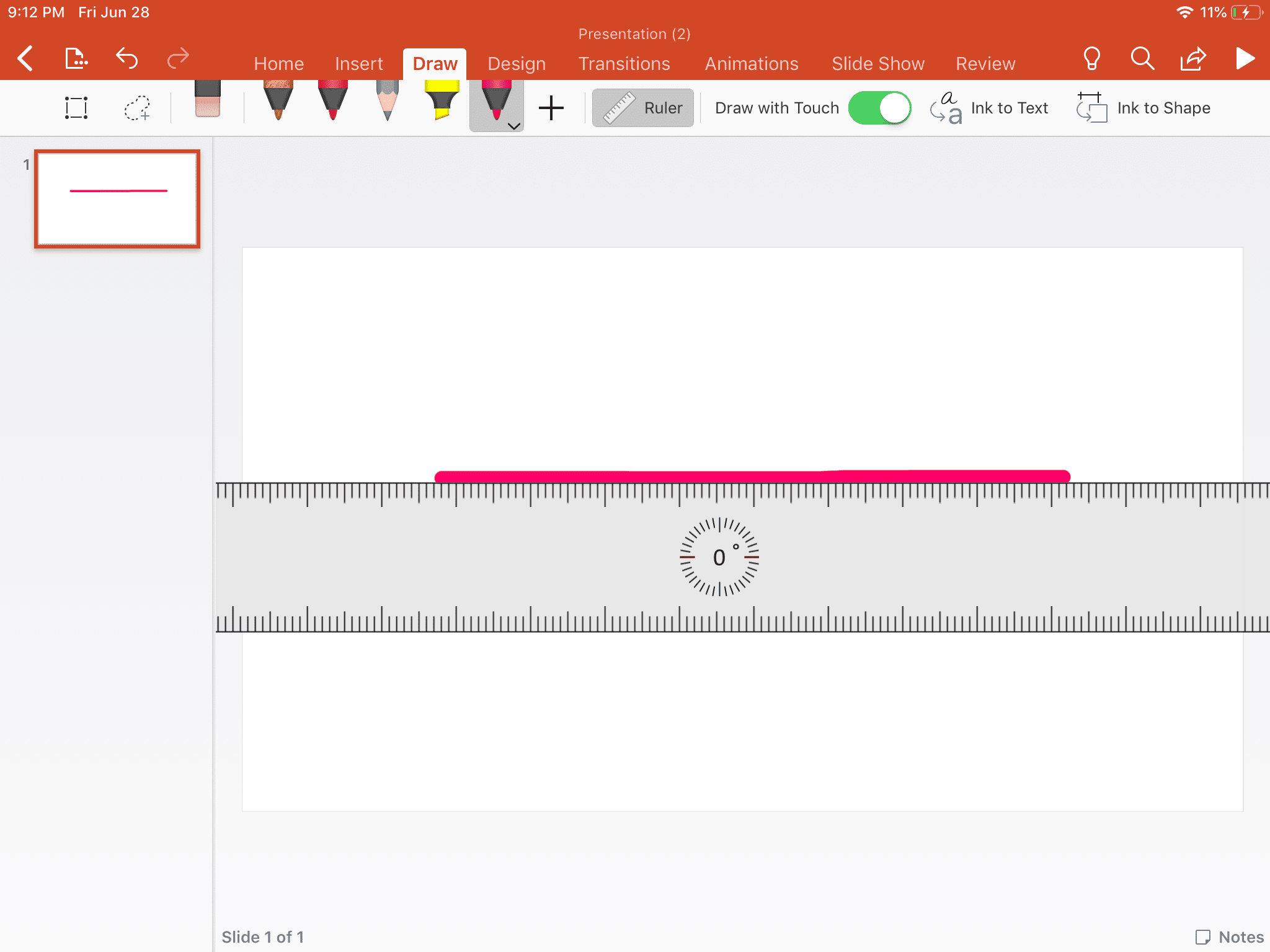 Drawing a straight line using the Pen and Ruler tools in Powerpoint