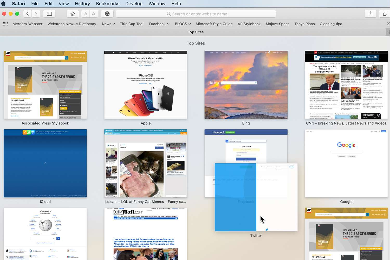 Safari Top Sites showing rearrangement of thumbnails by clicking and dragging