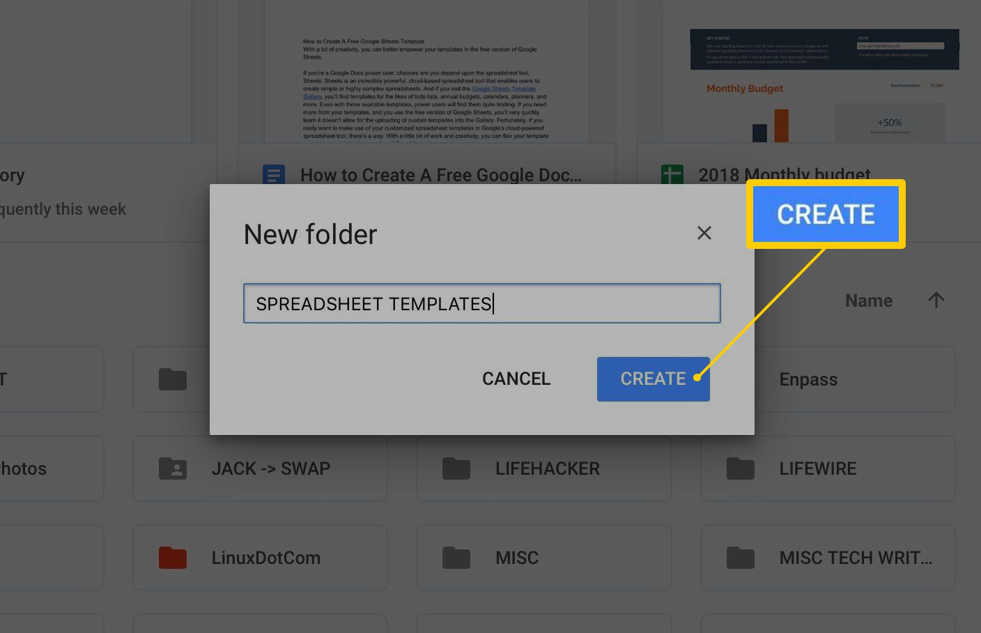 Create button to name new folder in Google Drive