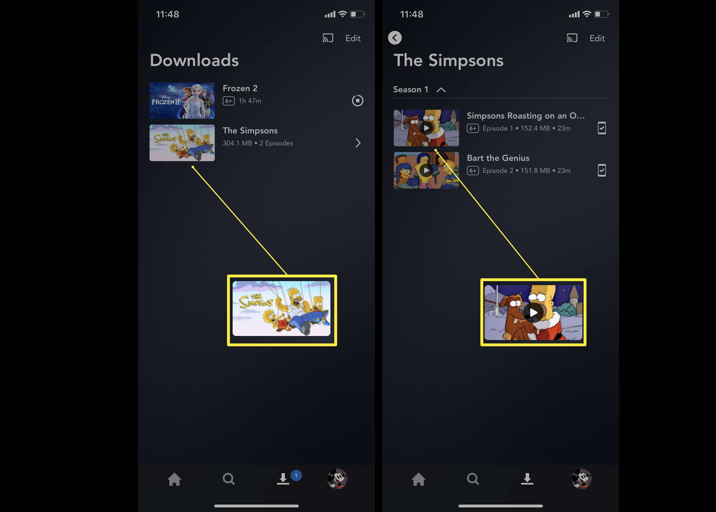 Steps needed in the Disney Plus app for watching a downloaded TV show