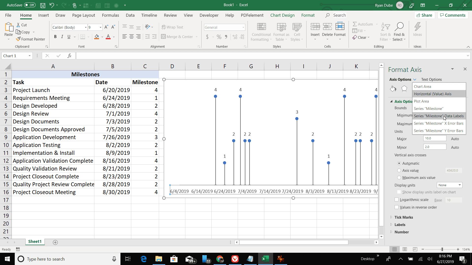 Screenshot of setting series data labels