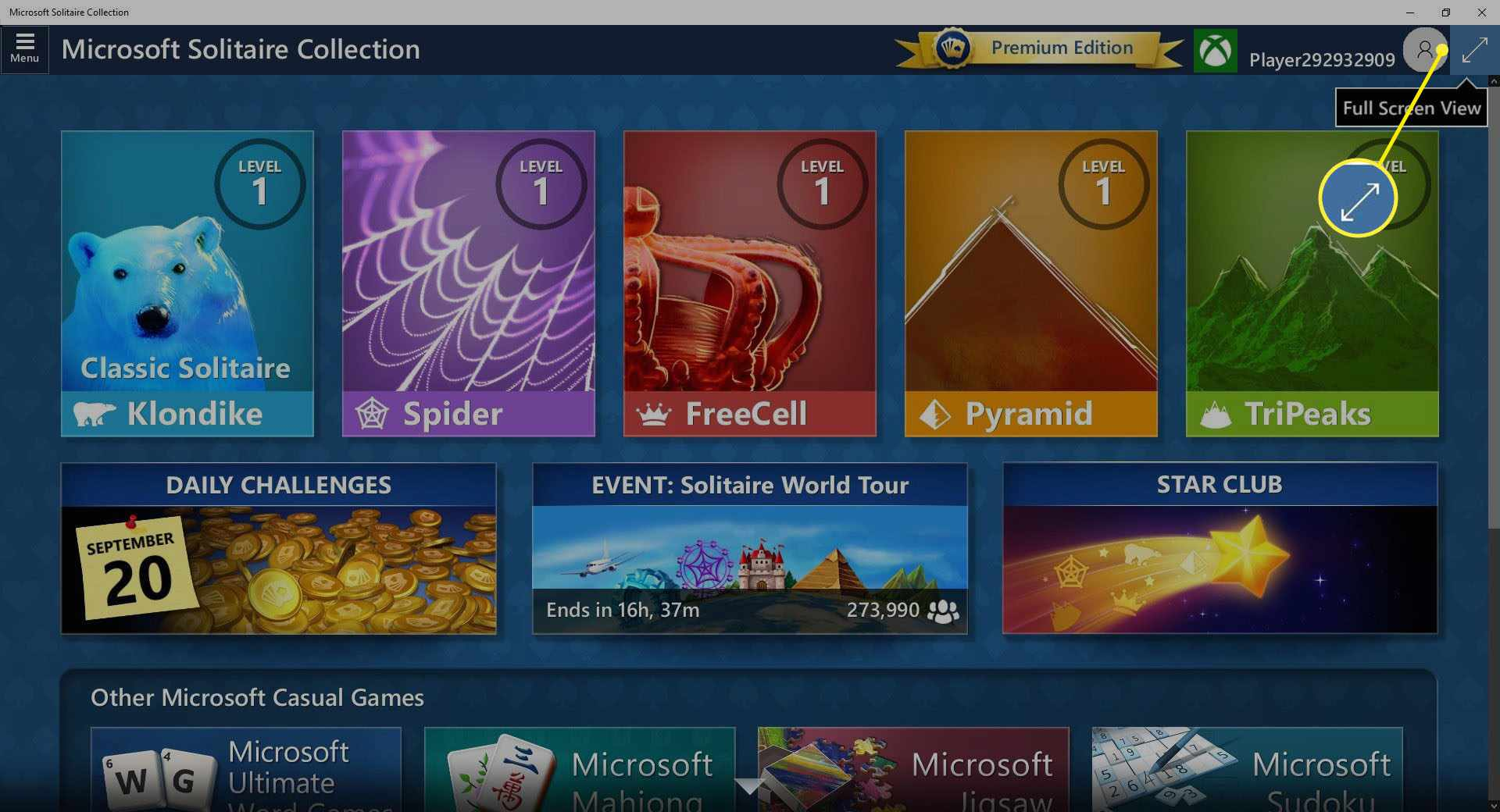 Screenshot of Full Screen View icon in MS Solitaire