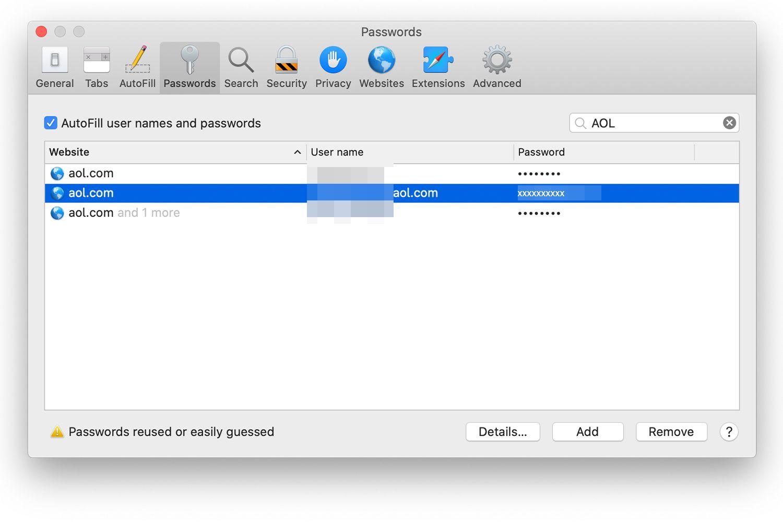 Mac Safari Passwords screen