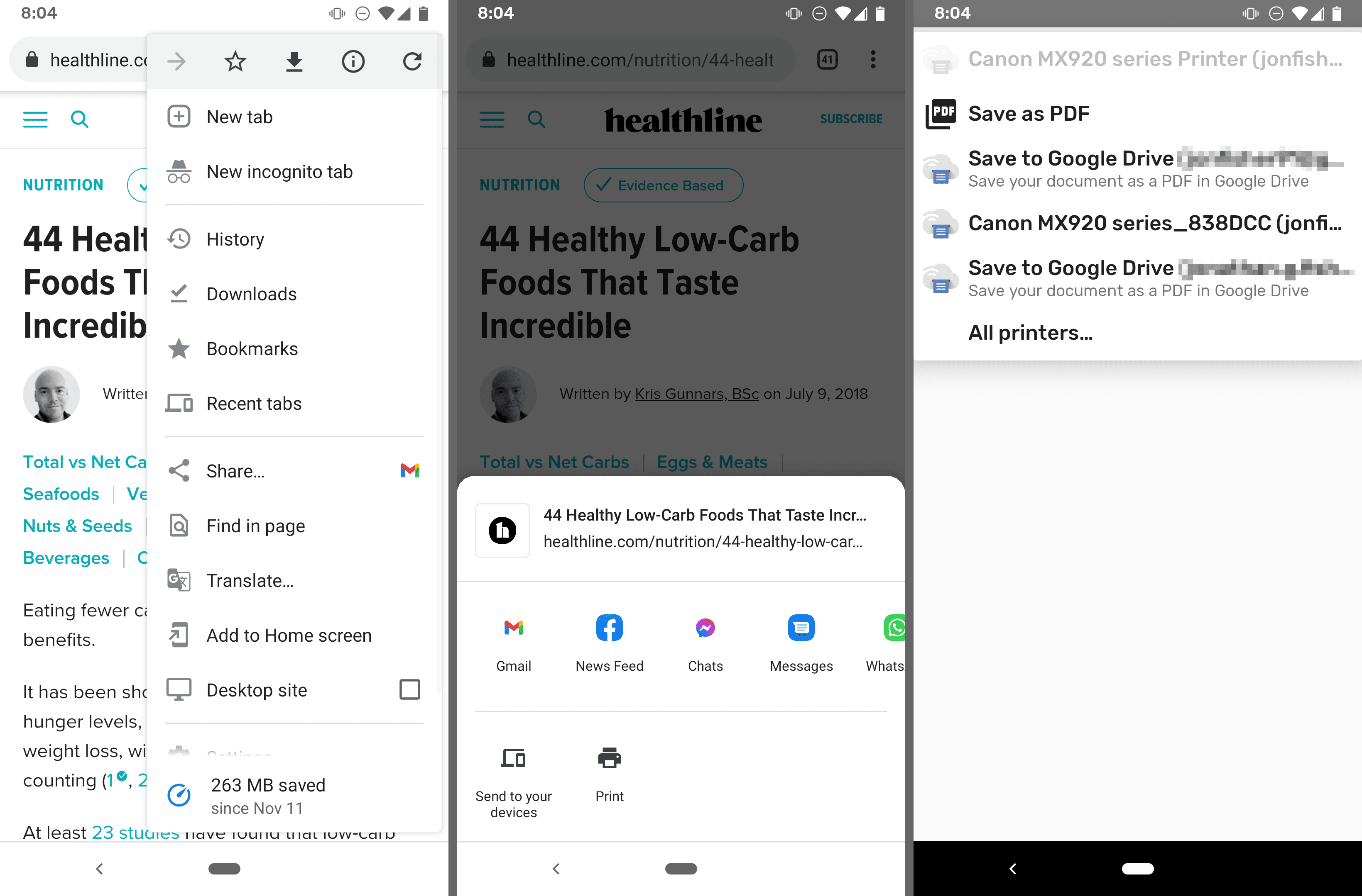 Screenshots of the Save as PDF option in Chrome for Android