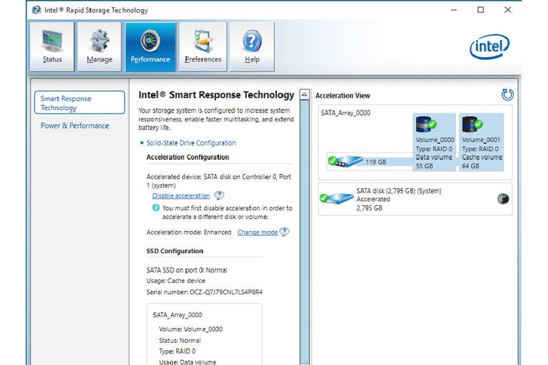 Intel Rapid Storage for Smart Response Technology screenshot