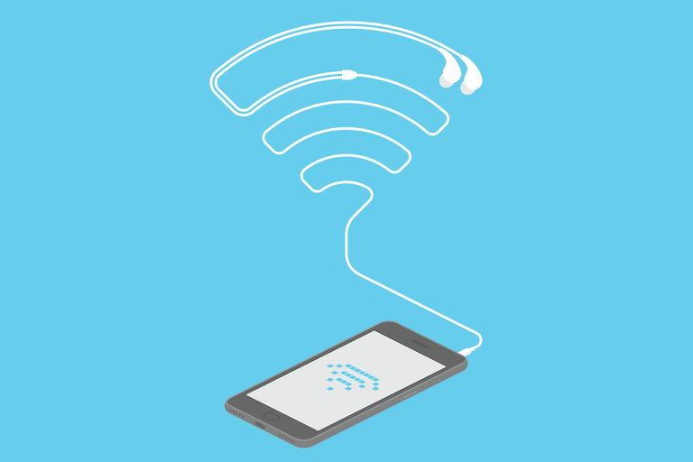 Picture of a phone connecting to Wi-Fi on a blue background