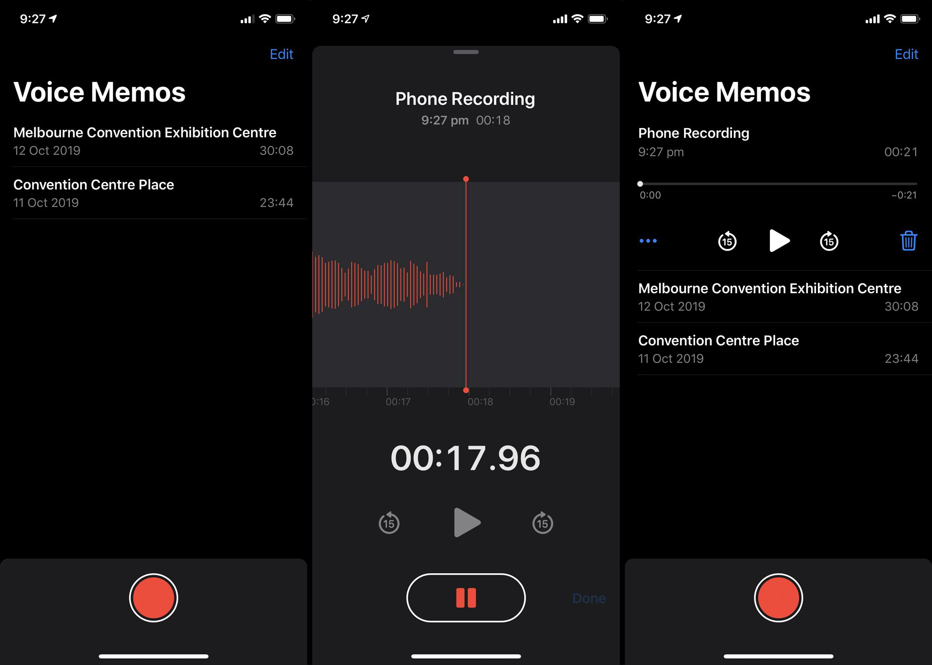 Apple's Voice Memos app recording a phone call.
