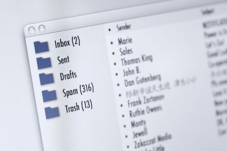 An email client, showing folders.