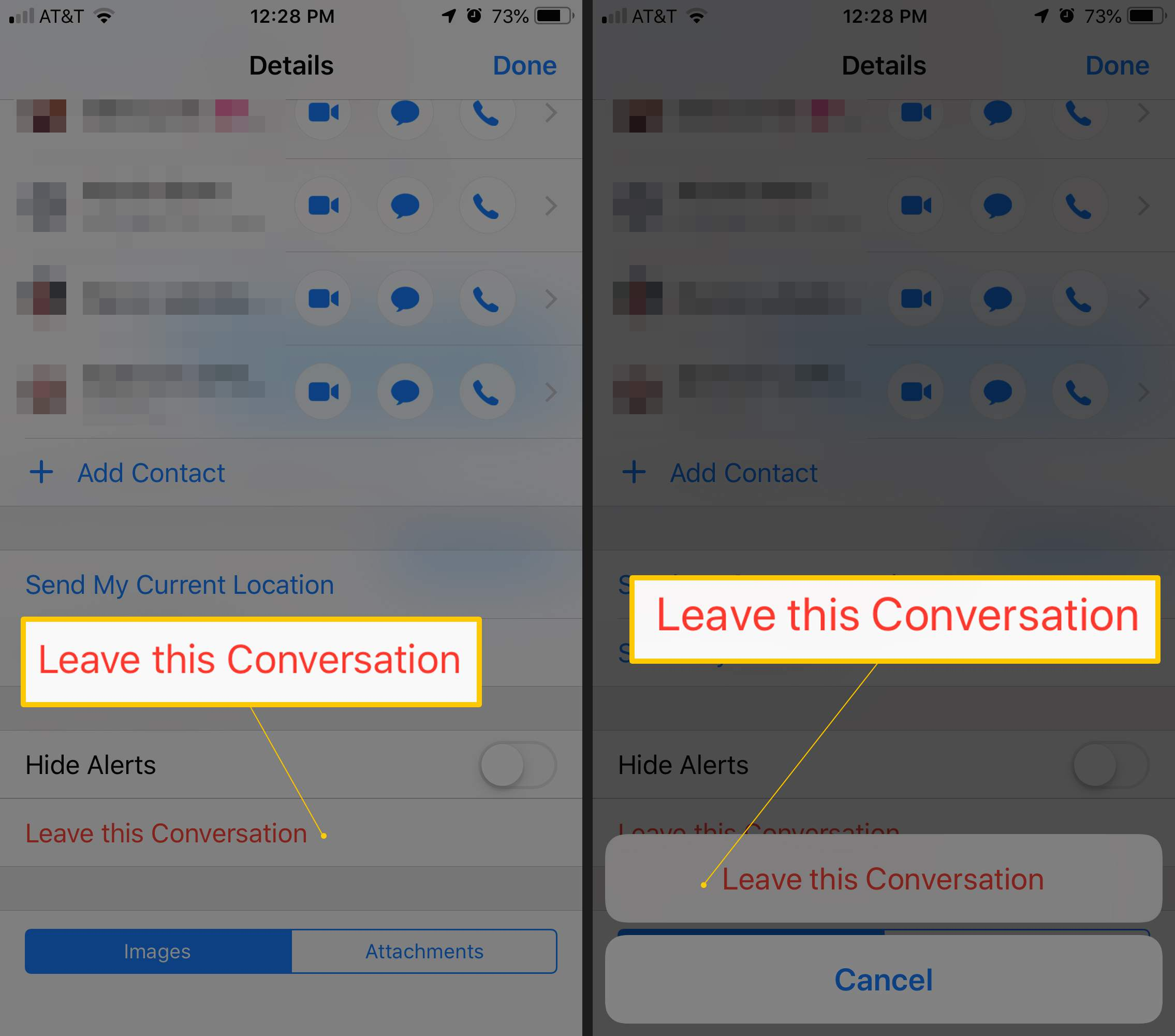 Two iOS screens showing Leave this Conversation options and the confirmation button