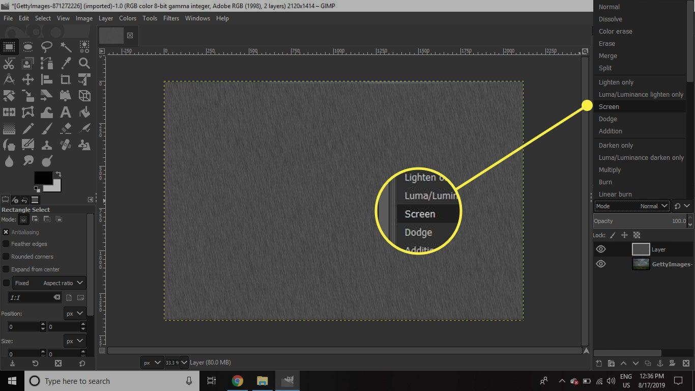 A screenshot of GIMP with the Screen blending mode highlighted