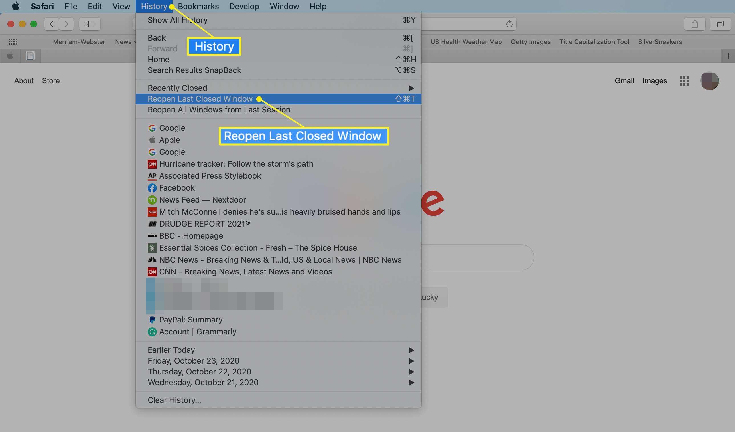 The Safari History enu with Reopen Last Closed Window highlighted