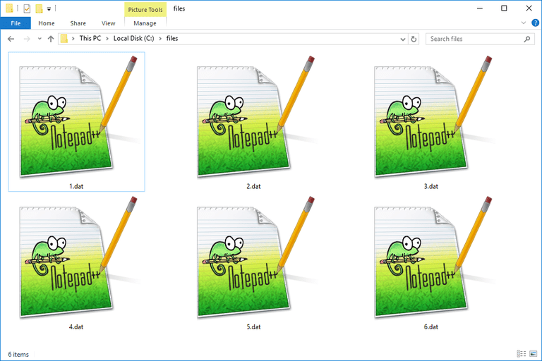 Screenshot of several DAT files in Windows 10