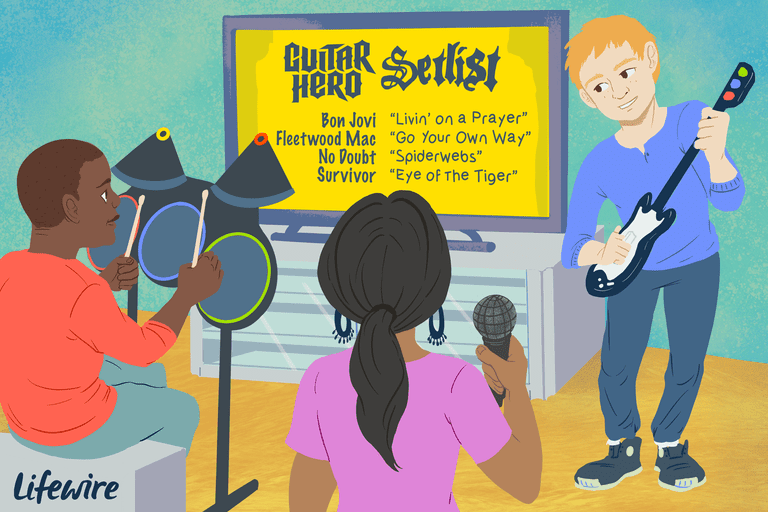 Illustration of a group of friends playing Guitar Hero with a setlist icluding Bon Jovi, Fleetwood Mac, No Doubt and Survivor