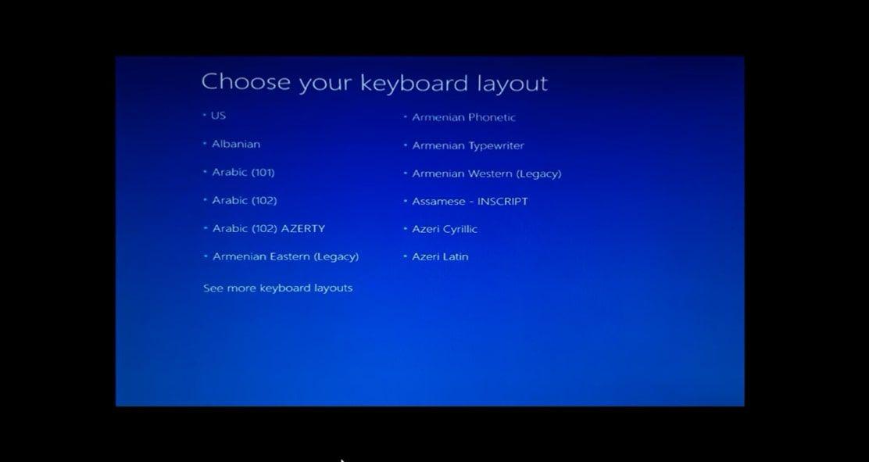 Select your keyboard language.