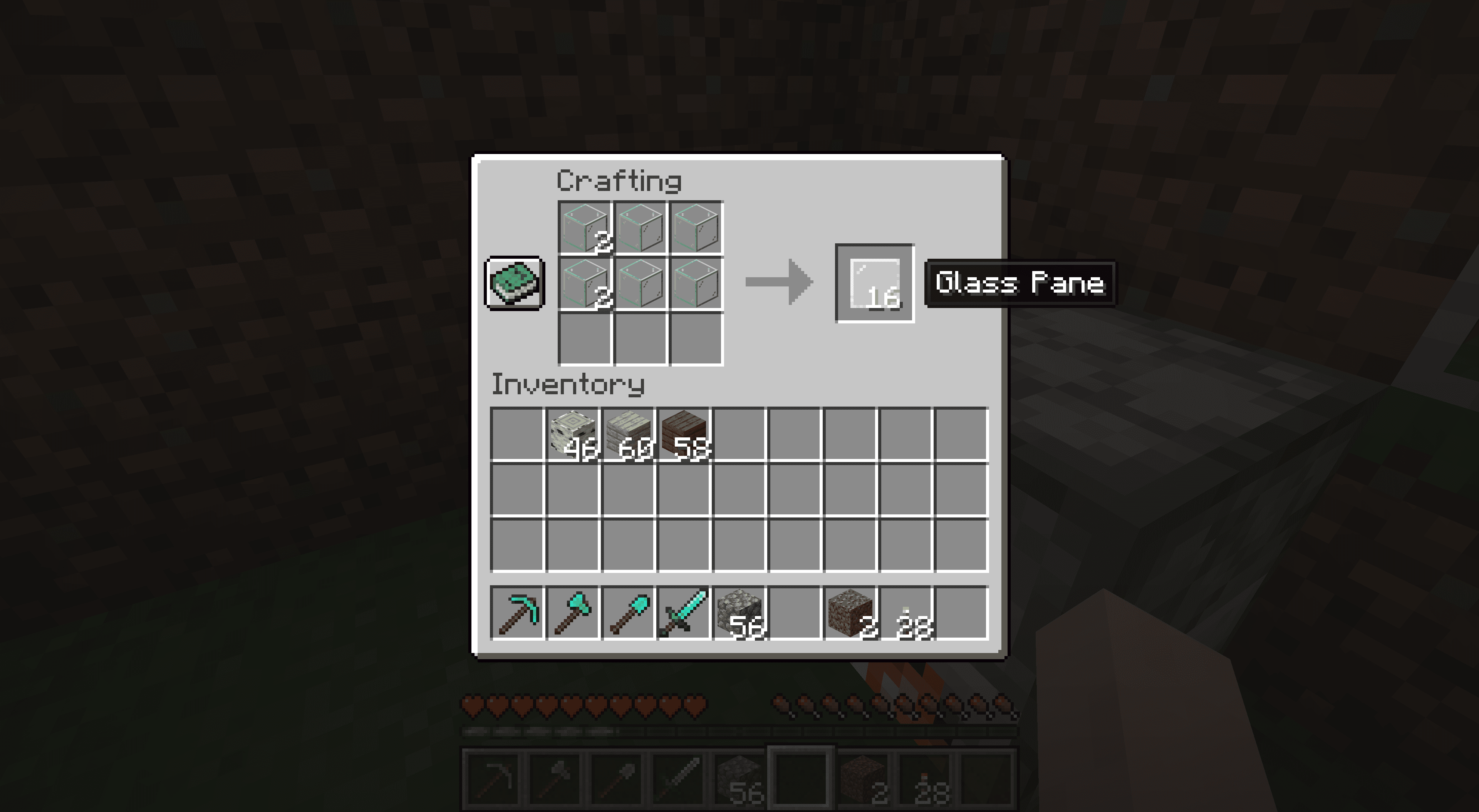 Making glass panes in Minecraft.