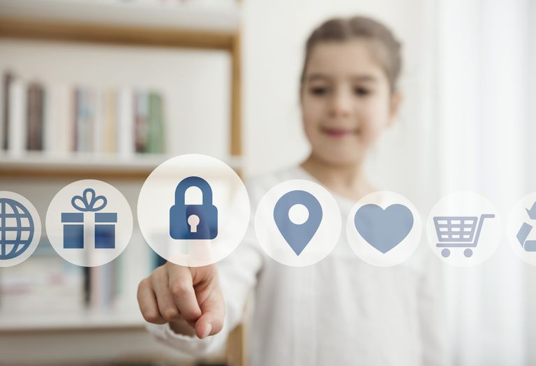 Image of a child touching the security button on the digital screen