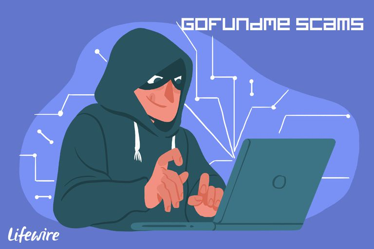 A conceptual illustration of a GoFundMe scammer.