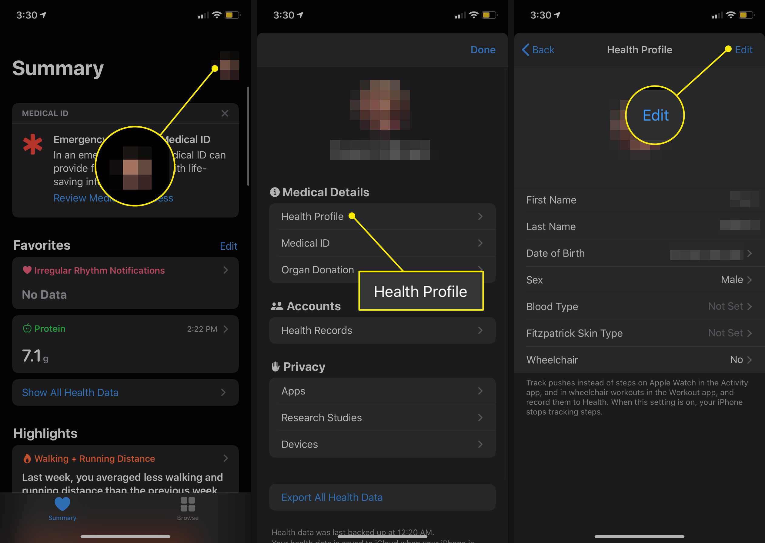 The profile, Health Profile, and Edit selections