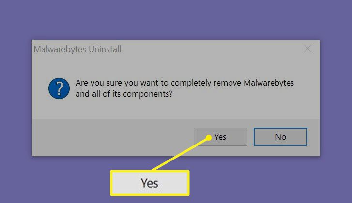 Malwarebytes uninstall prompt with Yes highlighted