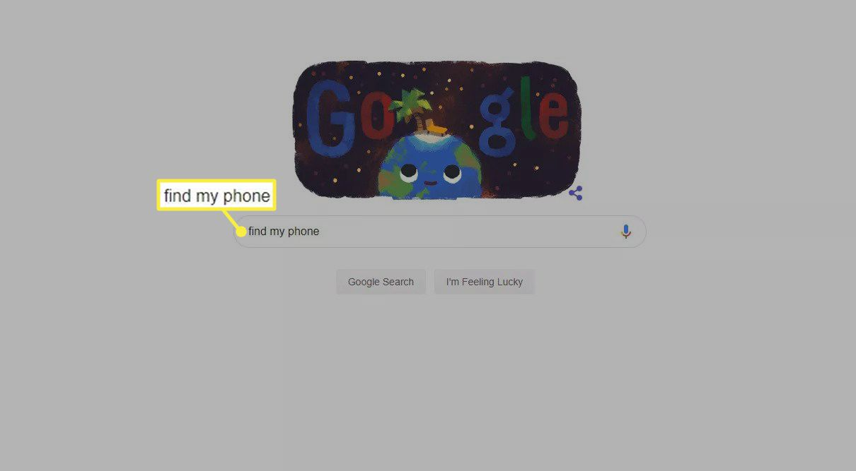 Find my phone in the Google search engine