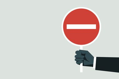Illustration of a man's hand and arm holding a red Do Not Enter sign