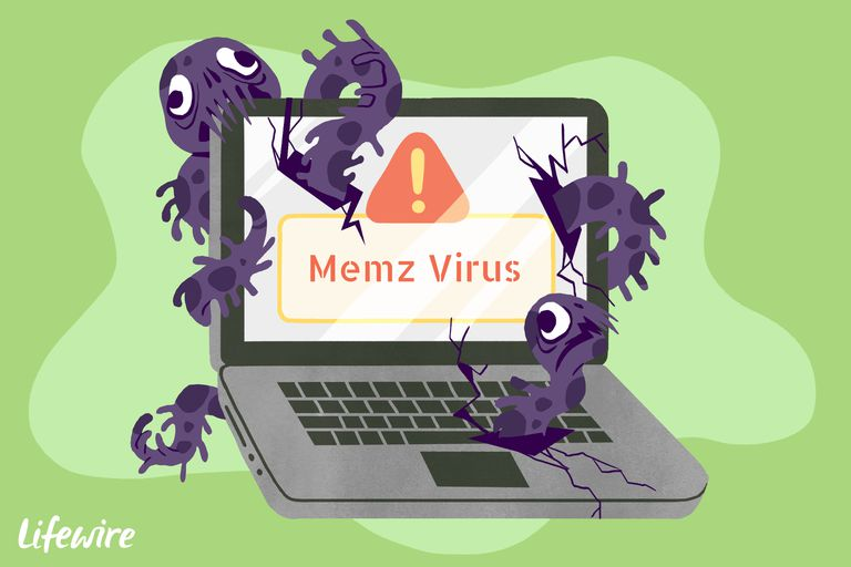A conceptual illustration of the Memz virus destroying a laptop computer.