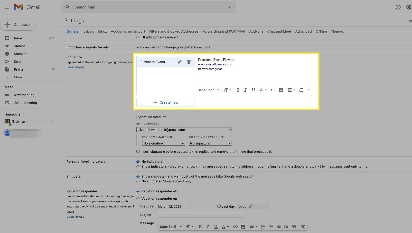 Gmail signature box highlighted