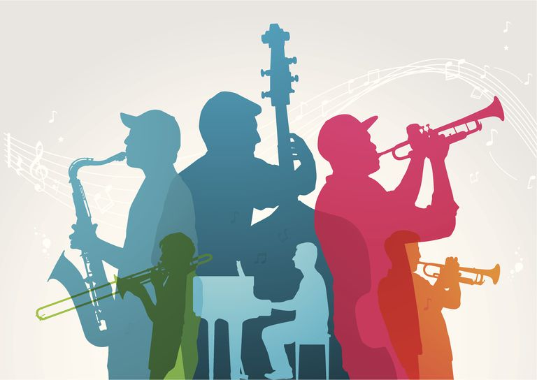 An abstract illustration of musicians.