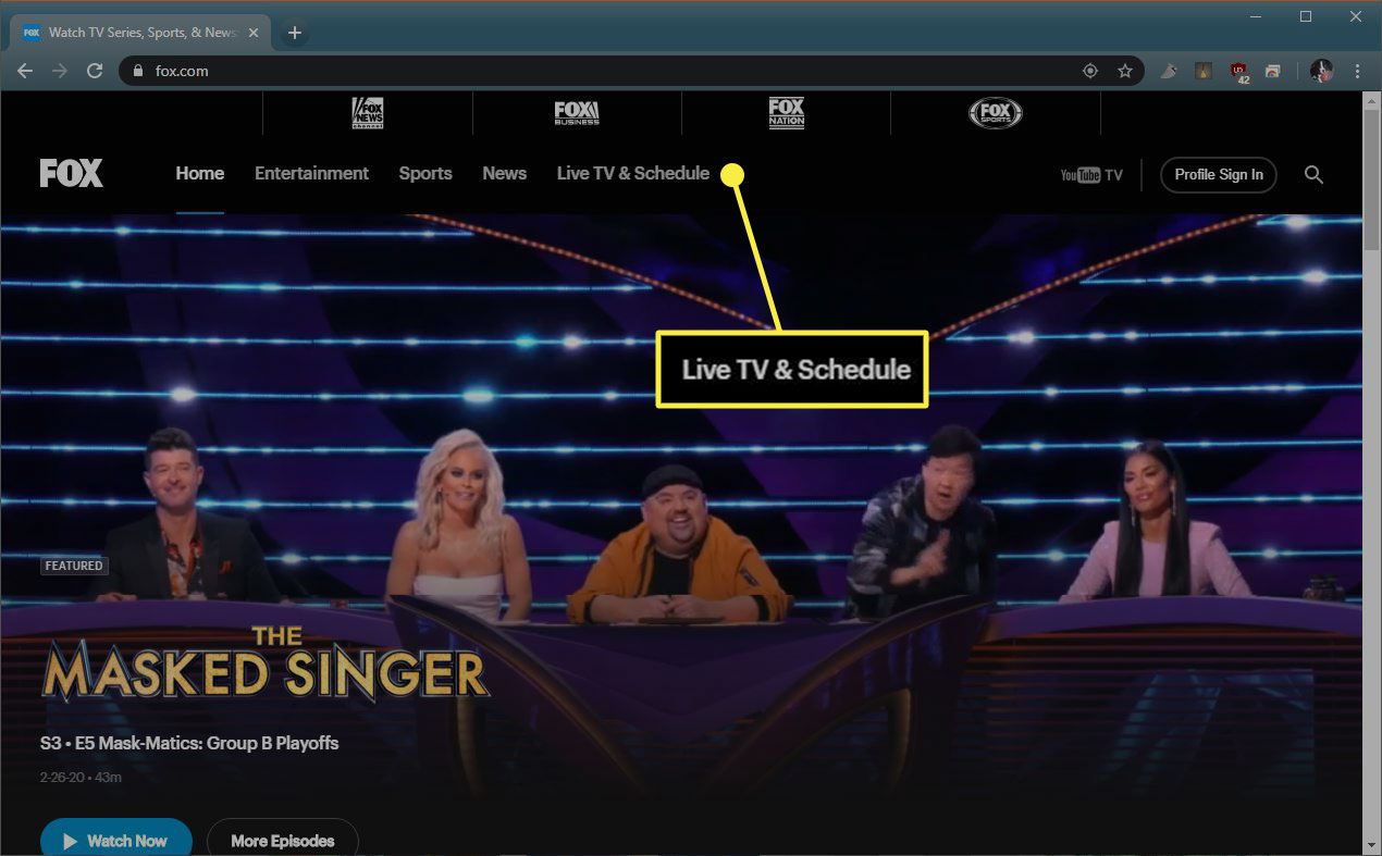 The Live TV & Schedule button on Fox.com