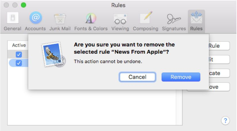 Screenshot of removing highlighting in Apple Mail