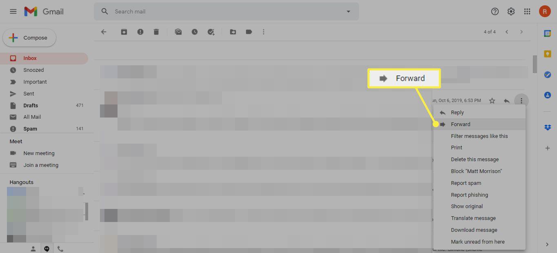 Forward menu item from Gmail's More menu