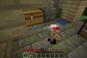 Fishing for a name tag in Minecraft.