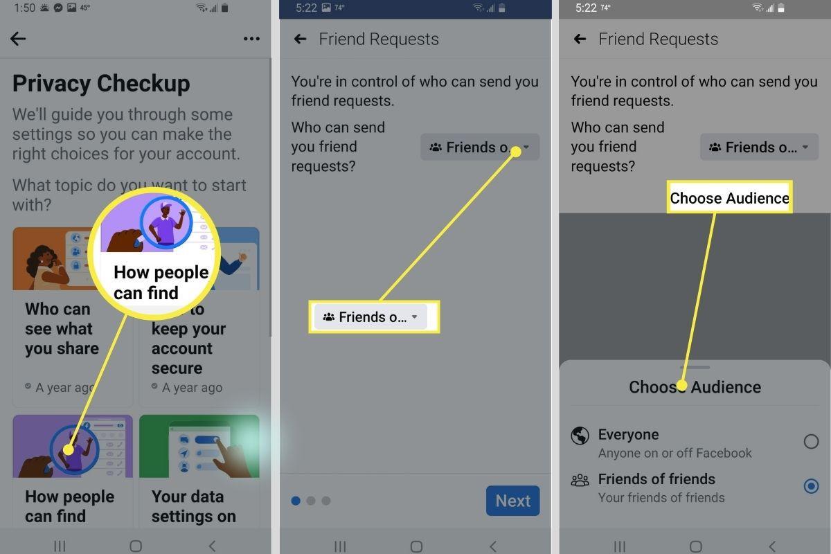 Friend request settings in Facebook app