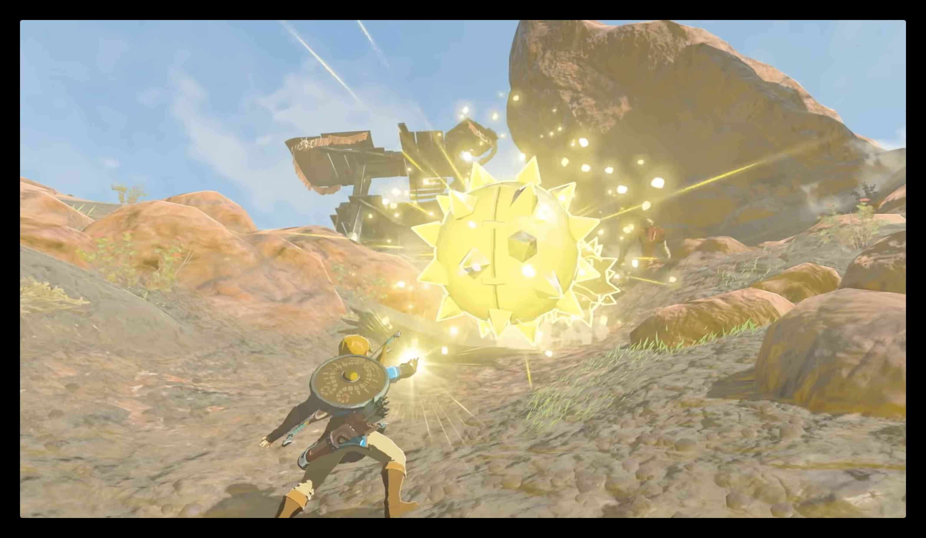 Link stopping a spiked ball before it hits him