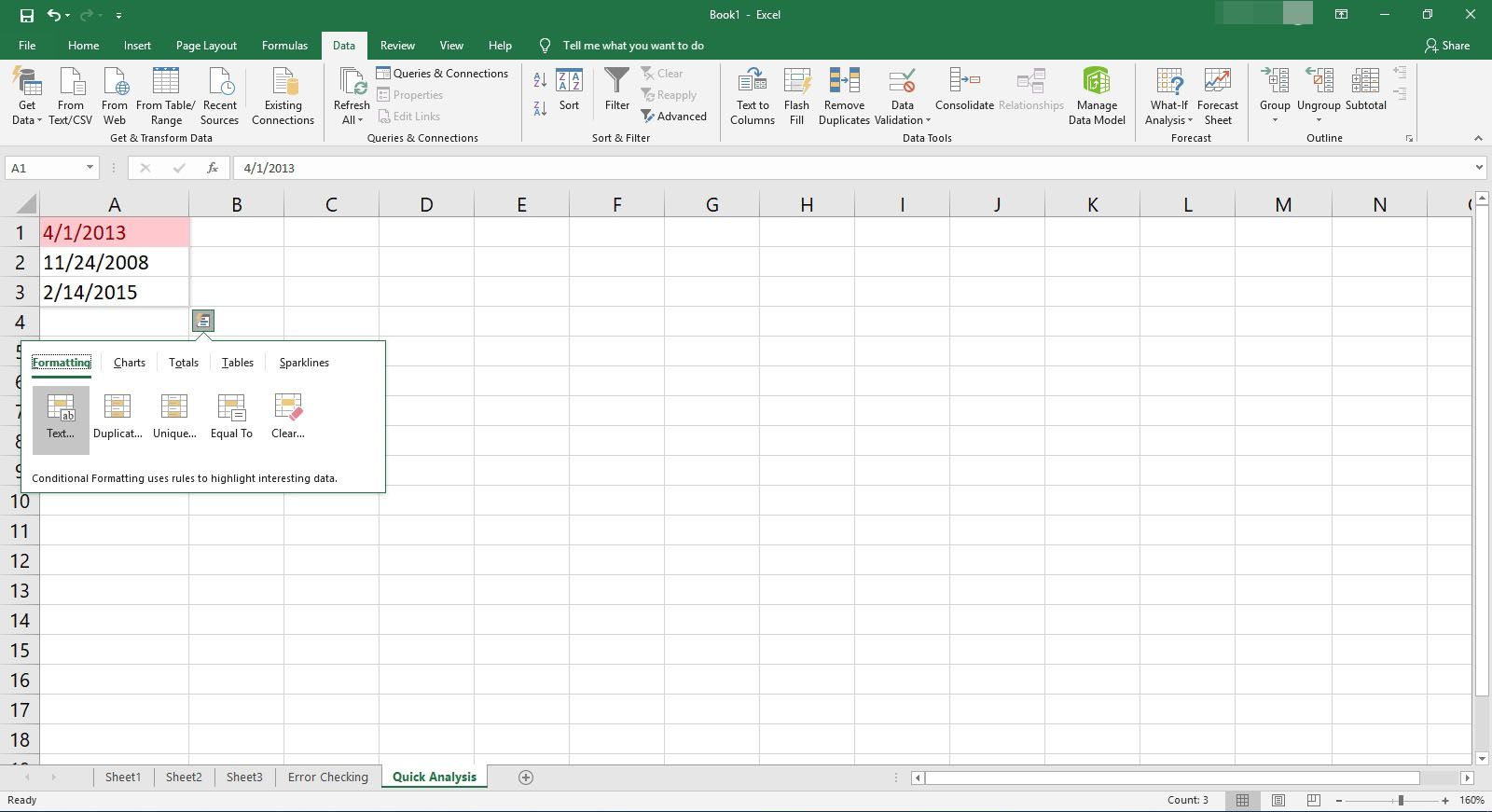 Selecting the text format in Quick Analysis in Excel.