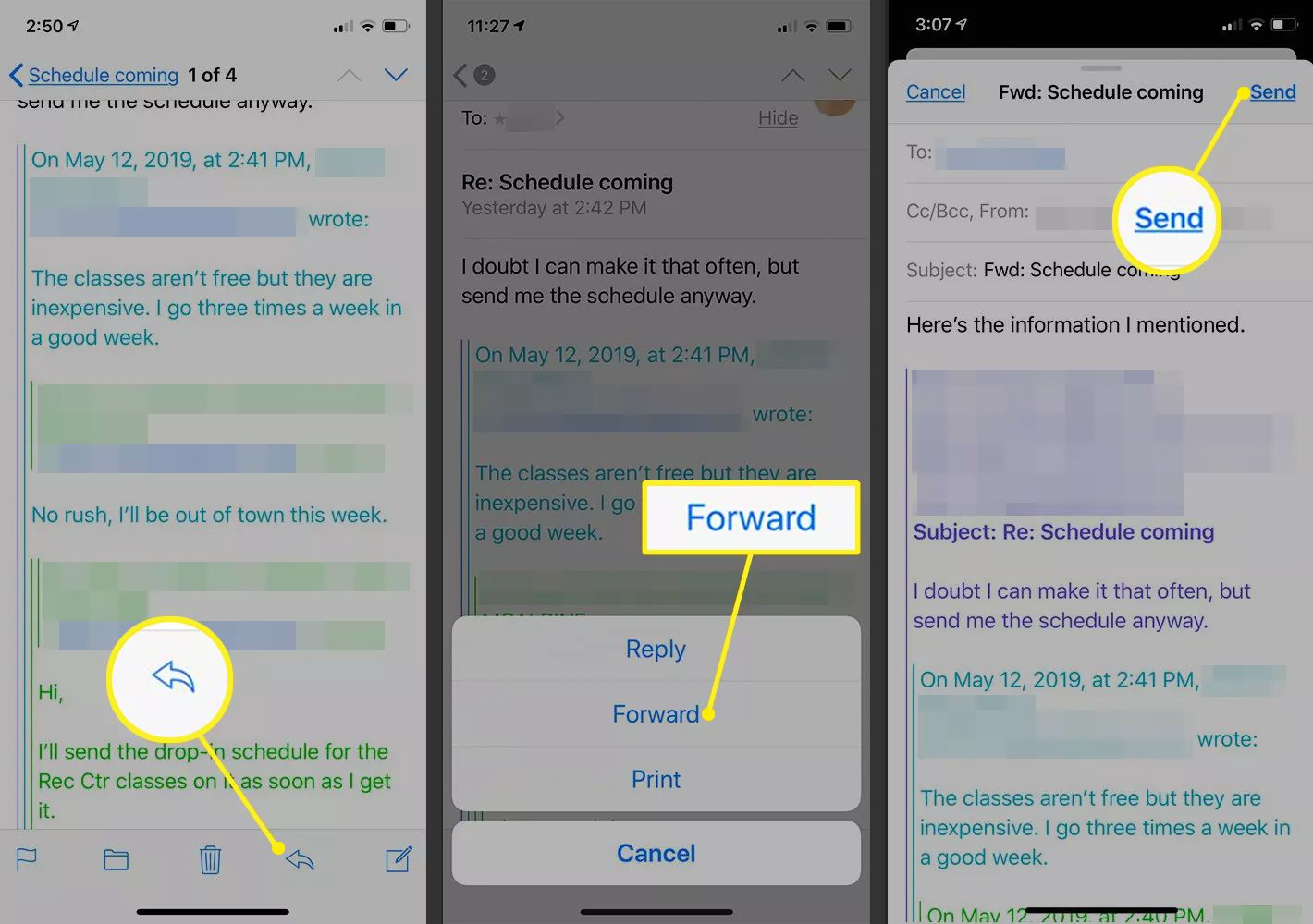 iOS Mail showing Forward button, Forward confirmation and Send button
