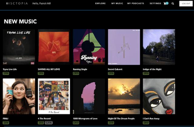 Screenshot of the Disctopia site.