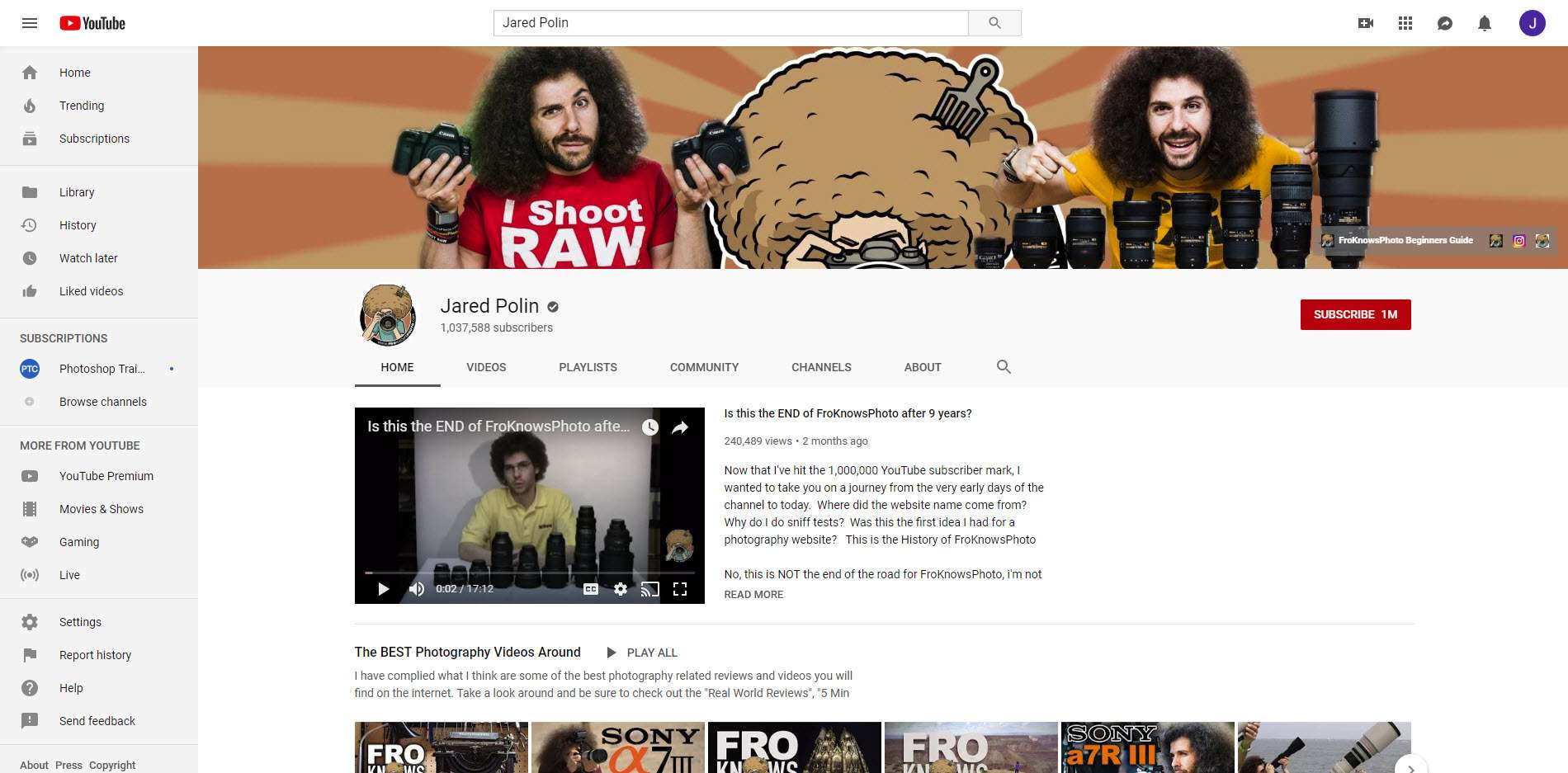 YouTube - Jared Polin, FroKnowsPhoto Channel