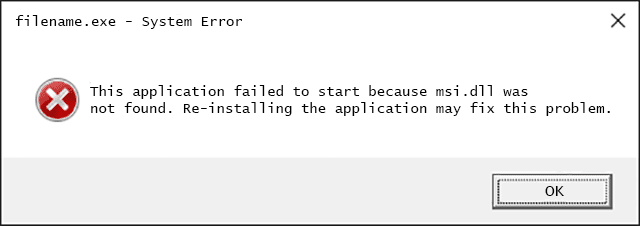 Msi.dll Error Message