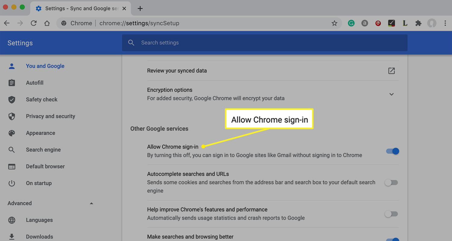 Chrome settings showing Allow Chrome sign-in option