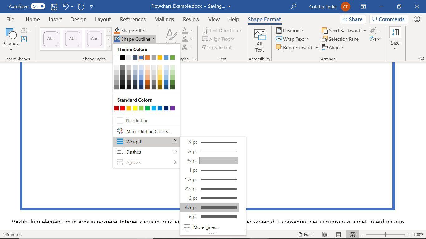 The Word Shape Format tab to change the shape outline for the flowchart drawing canvas