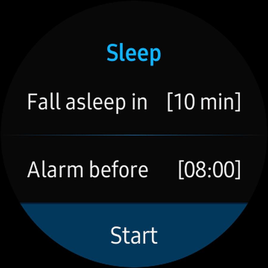 Screenshot of G'Night Sleep app start sleep screen.