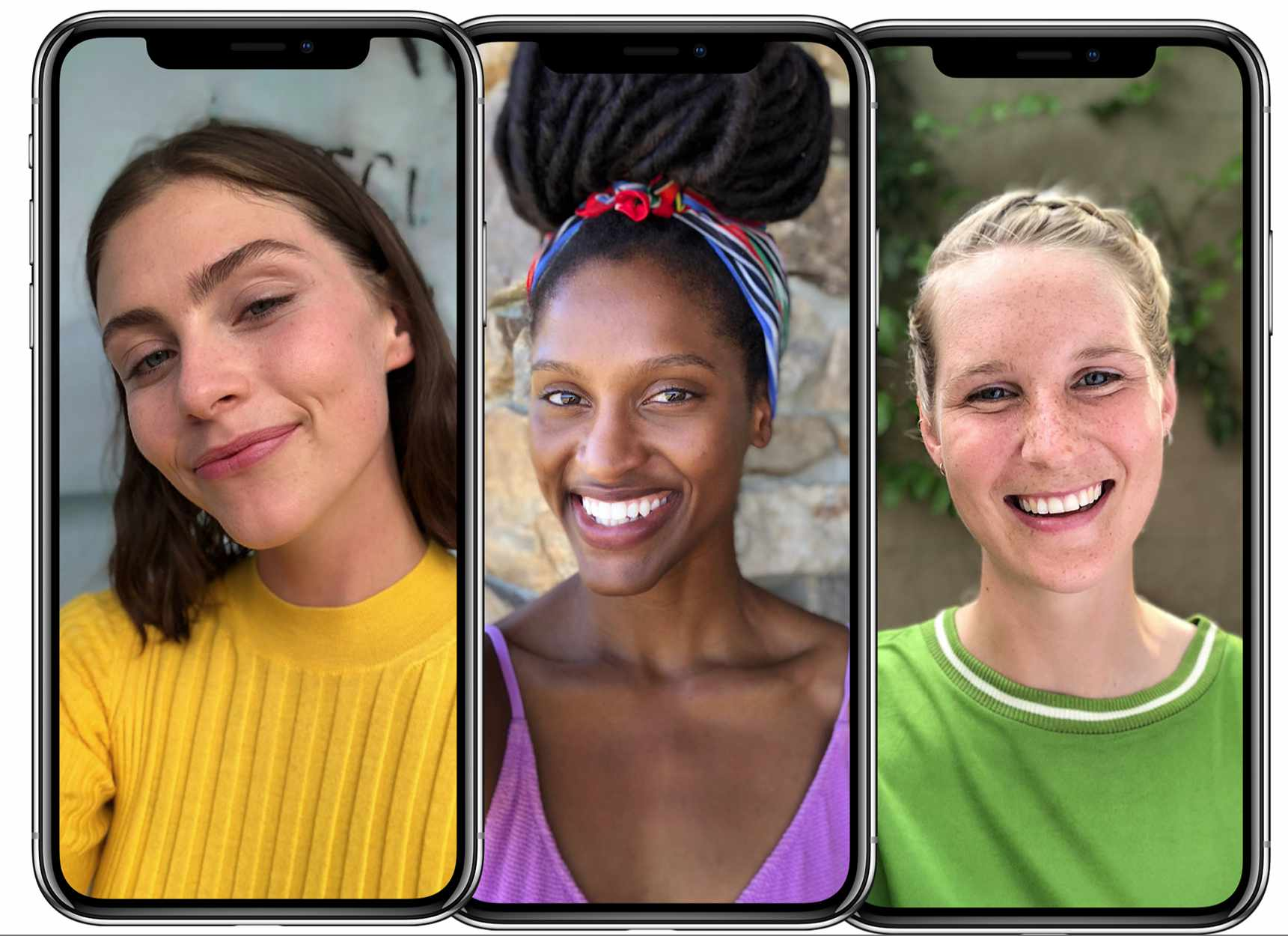 Three examples of people smiling for Face ID on their iPhones.