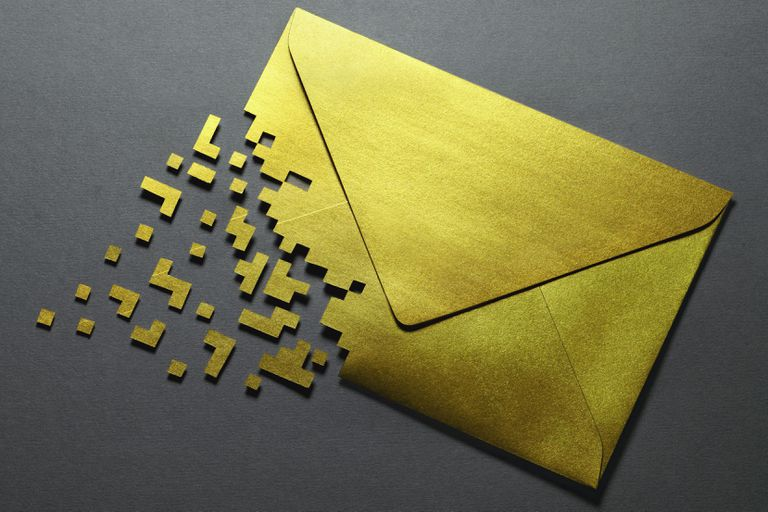 Partly pixilated envelope representing email