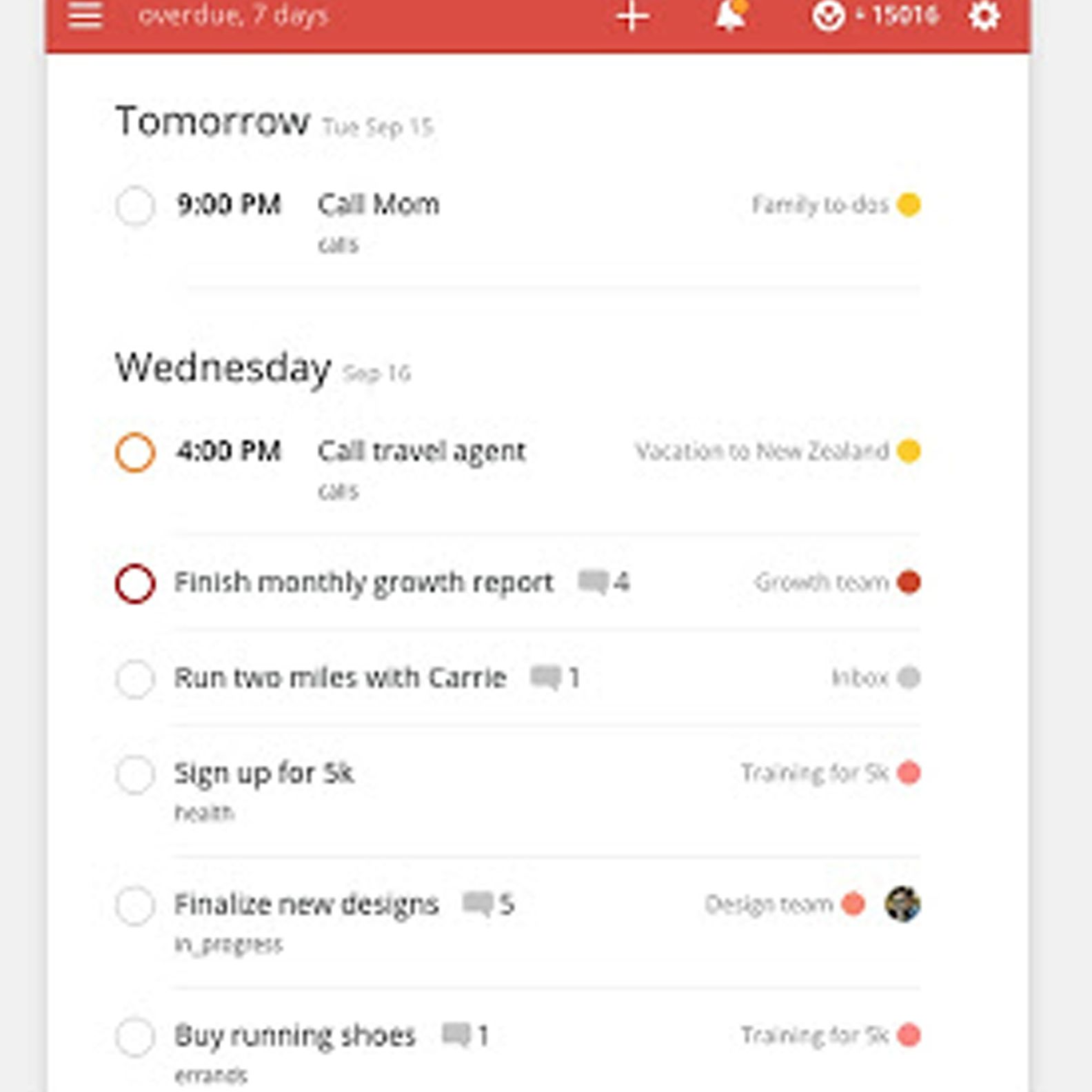 Todoist task list Chrome extension in use.
