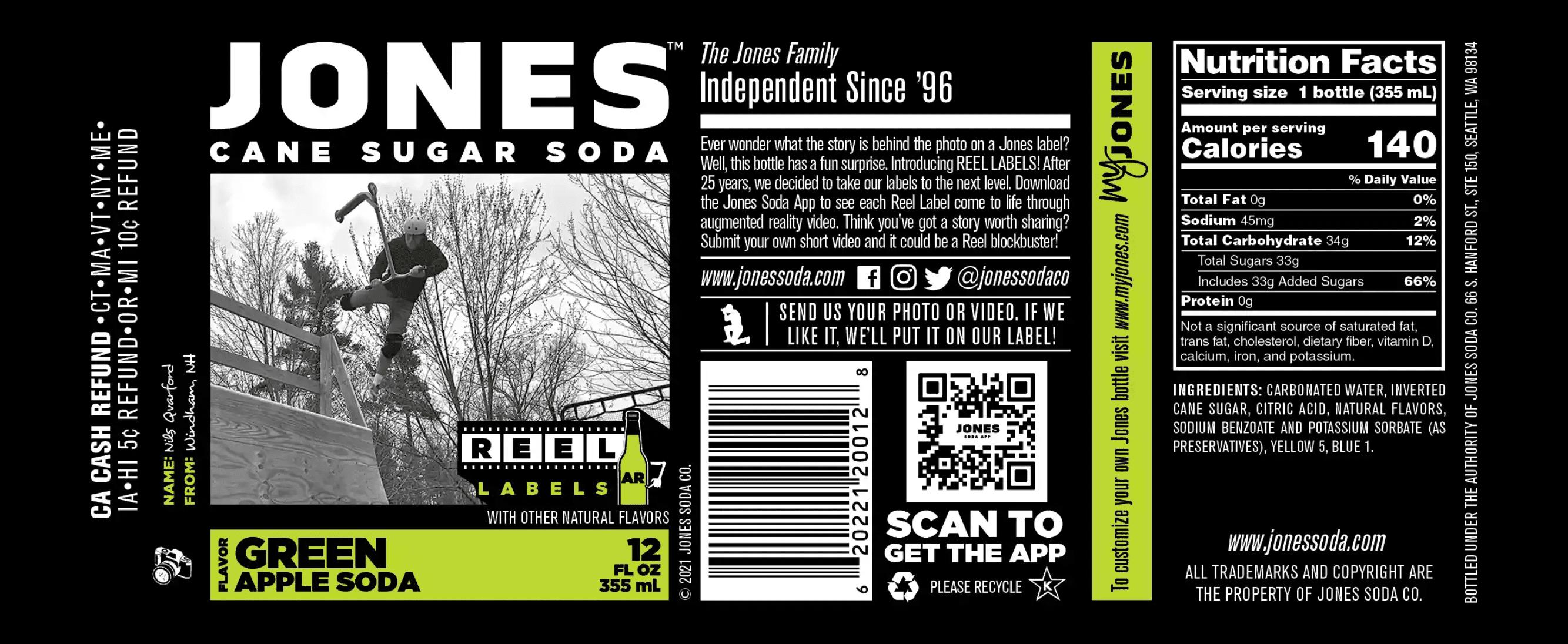 The new AR Label for Jones Soda's Green Apple Soda beverage.