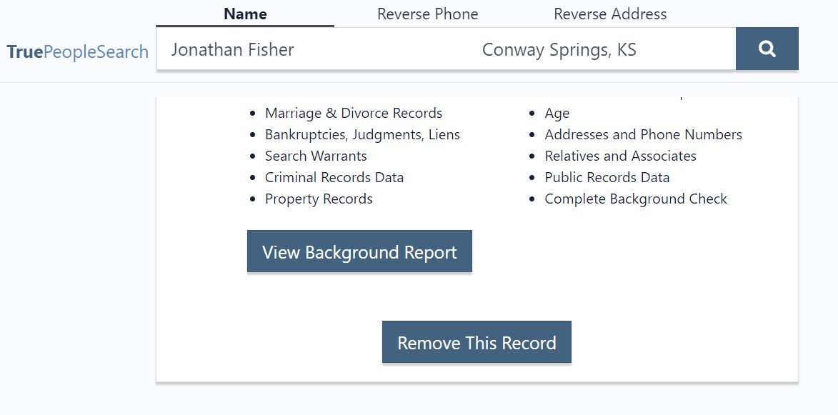 TruePeopleSearch remove this record button